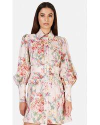 Zimmermann Wavelength Billow Sleeve Mini Dress - Pink