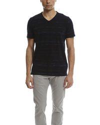 Vince Slub Cotton Shadow V Neck Classic T-shirt - Blue