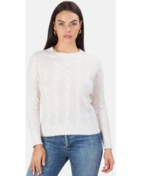 Minnie Rose Cable Frayed Crew Sweater - White