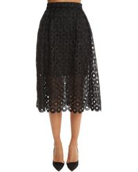 Nicholas Spot Lace Ball Skirt - Black