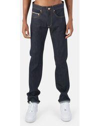 Blue & Cream Slim Straight Raw Indigo Selvedge Denim Pants - Blue