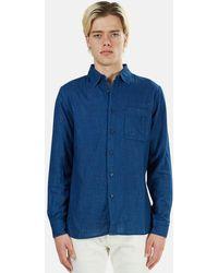 Kato Slim French Seam Shirt - Blue