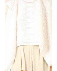 3.1 Phillip Lim Asymmetrical Short Sleeve Pullover Sweater - White