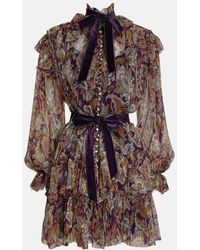 Zimmermann Ladybeetle Ruffled Minidress - Purple