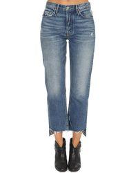 GRLFRND Helena High Rise Crop Trousers - Blue