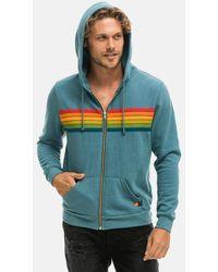 Aviator Nation 6 Stripe Zip Hoodie Sweater - Blue