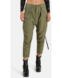 R13 Harem Cargo Trousers - Green