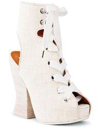 Acne Studios Chiara Canvas Ankle Boots - White