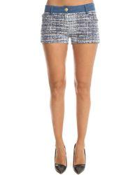 Balmain Denim Tweed Shorts - Blue