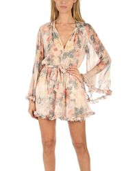 8684f8c8e42 Zimmermann Porcelain Embroidered Playsuit in White - Lyst