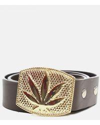 Lucien Pellat Finet Gold Leaf Buckle Belt - Metallic