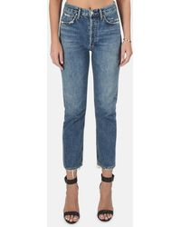 Agolde Riley High Rise Straight Crop Jeans - Blue