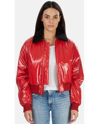 R13 Cropped Garage Flight Jacket - Red