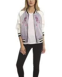 Jocelyn Satin Bomber Jacket White/lilac - Blue