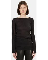 T By Alexander Wang Boat Neck Ls - Black