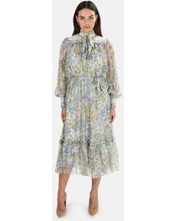 Zimmermann Super Eight Floral Midi Dress - Blue