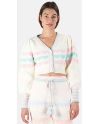 LoveShackFancy Buena Cropped Cardigan Sweater - Multicolor