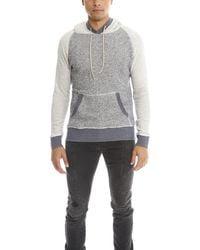 Blue & Cream Pullover Hoodie Sweater - Gray