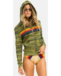 Aviator Nation 5 Stripe Zip Hoodie Jumper - Green