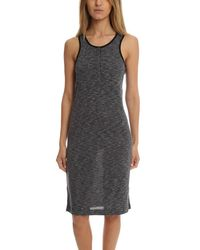 ATM Sleeveless Melange Henley Dress - Gray