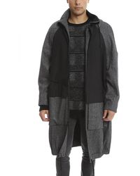 Public School Oversized Overlay Parka Jacket - Black