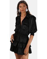 MISA Los Angles Riona Ruffled Dress - Black