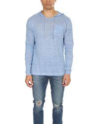 Blue & Cream Pullover Hoodie Jumper - Blue