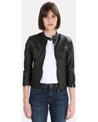 R13 Cafe Racer Leather Jacket - Black