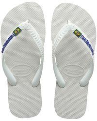 Havaianas - Brasil Logo Flip Flops White - Lyst