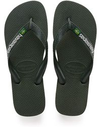 Havaianas - Brasil Logo Flip Flops Green Olive - Lyst