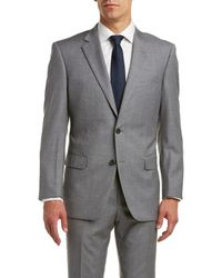 Nicole Miller - Classic Fit Wool Suit With Flat Front Pant - Lyst