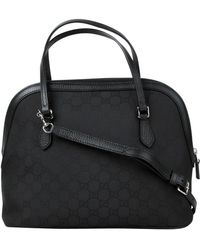 Gucci - Dome Black Nylon Leather Ssima With Trim Cross Body Bag 420023 1000 - Lyst