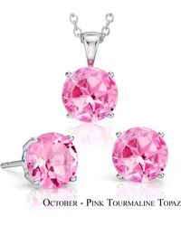 Suzy Levian - 18k Goldplated Sterling Silver 3ct Pink Tourmaline Topaz October Birthstone Set Made With Swarovski Gemstones - Lyst