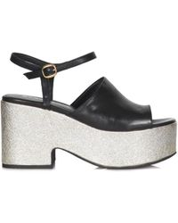 Strategia - Women's Silver/black Leather Sandals - Lyst