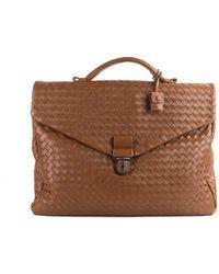 Bottega Veneta - Brown Leather Espresso Intrecciato Small Briefcase - Lyst