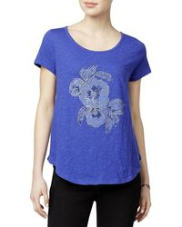 Lucky Brand - Floral Print Embellished Graphic Short Sleeve T-shirt - Lyst