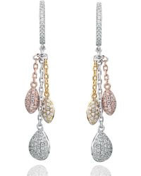 Suzy Levian - Tri-tone Sterling Silver White Cubic Zirconia Dangle Earrings - Lyst