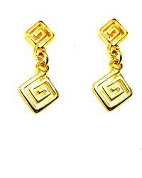 Jewelry Affairs - Sterling Silver 18 Karat Gold Overlay Greek Key Drop Earrings - Lyst