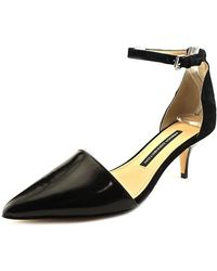 French Connection - Womens Enora Leather Pointed Toe Ankle Strap Classic Court Shoes - Lyst