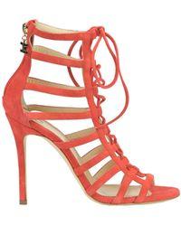 Elisabetta Franchi   Women's Red Suede Sandals   Lyst