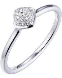 Jewelista - 14k White Gold Diamond Pave Stacking Ring - Lyst