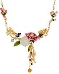 Les Nereides - Balad In Versailles Pink Flower On Stone And Butterfly And Berries Necklace - Lyst