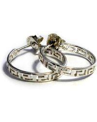 Jewelry Affairs - Sterling Silver Rhodium Plated Ancient Greek Key Hoop Earrings - Lyst