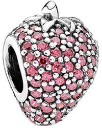 PANDORA - Pave Strawberry Silver Cz Charm - Lyst