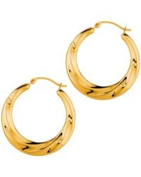 Jewelry Affairs - 14k Yellow Gold Shiny Textured Round Hoop Earrings, Diameter 25mm - Lyst
