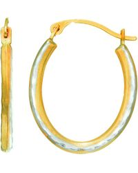 Jewelry Affairs - 14k Yellow Gold Alternate Satin Finish Three Sided Oval Hoop Earrings - Lyst