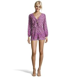 Romeo and Juliet Couture - Printed Tie-front Romper With Slit Sleeve - Lyst