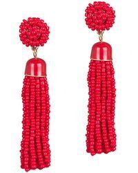 Gottex - Plated Tassel Beaded Red Drop Earrings - Lyst