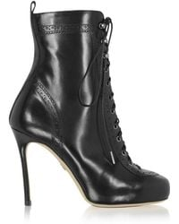 DSquared² - Women's Black Leather Ankle Boots - Lyst