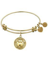Angelica - Stipple Finish Brass Apple, Teach, Inspire Bangle Bracelet, 7.25 - Lyst